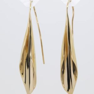 9 carat yellow gold fluted hook drop earrings