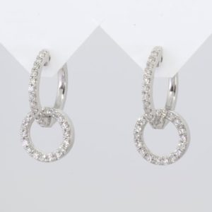 9 carat white gold diamond circular drop earrings