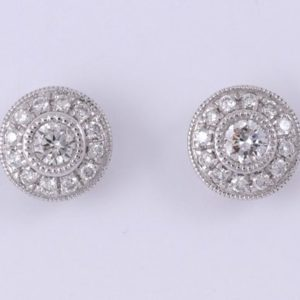 9 carat white gold diamond halo stud earrings