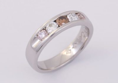 120057 - Cognac, Pink & White Diamond Platinum Ring