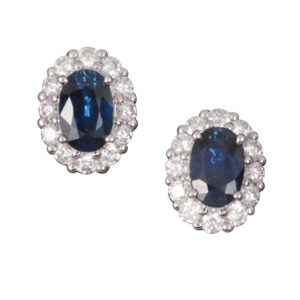 18 carat white gold oval Australian sapphire and diamond halo stud earrings
