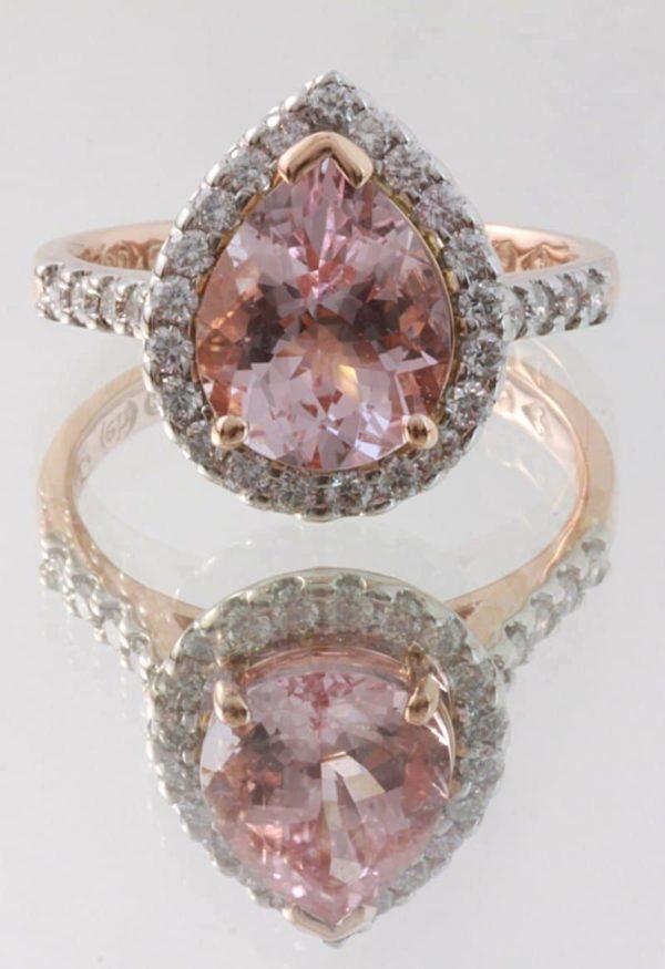 Morganite ring, Abrecht Bird, Abrecht Bird Jewellers, hand made engagement ring, morganite engagement ring, pear shaped morganite, morganite halo ring, quality hand made jewellery, unique jewellery designs