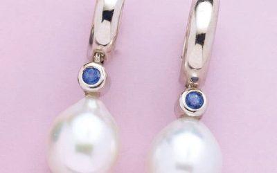 4803 : Pearl & Sapphire Huggie Earrings
