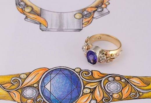 Tanzanite ring, Tanzanite and diamond ring, Abrecht Bird, Abrecht Bird Jewellers, design your own jewellery, custom made rings