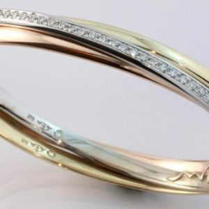 Multi coloured jewellery,Abrecht Bird Jewellers, diamond hinged bangle, three tone bangle,
