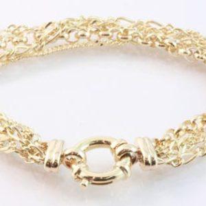 gold multi chain bracelet, four chain bracelet, yellow gold bracelet, custom made bracelet,