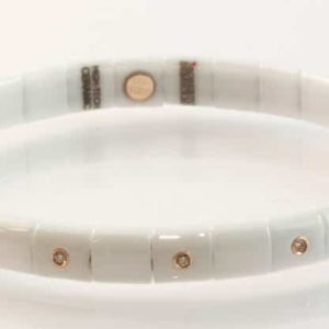 White ceramic and 18 carat rose gold cognac diamond bracelet