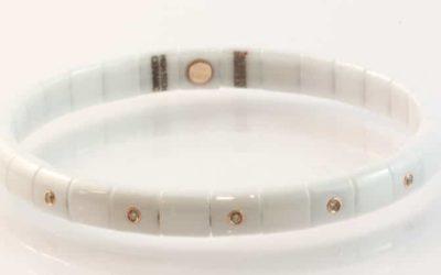 119791 : White Ceramic & Cognac Diamond Bracelet