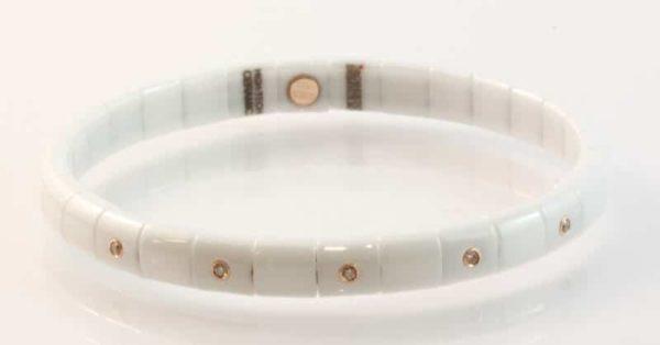 White ceramic and 18 carat rose gold cognac diamond bracelet