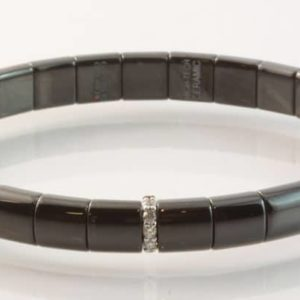 Black ceramic and 18 carat white gold diamond set bracelet