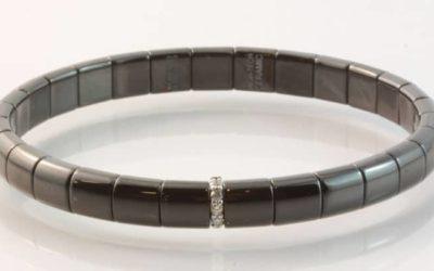 119792 : Black Ceramic & Diamond Set Bracelet