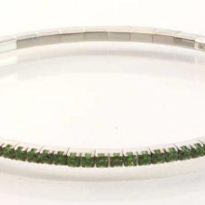 18 carat white gold Tsavorite bracelet, set with 2.65ct of round green Tsavorite garnets.