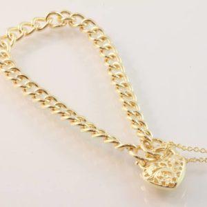padlock bracelet, curb link bracelet, heart padlock bracelet, gold padlock bracelet