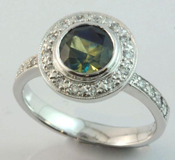 sapphire and diamond brooch, Abrecht Bird, Abrecht Bird Jewellers, Parti sapphire, sapphire ring, unique rings, Australian sapphire, hand made sapphire ring, sapphire halo ring, sapphire halo