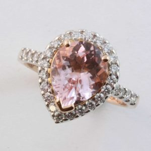 Morganite ring, Abrecht Bird, Abrecht Bird Jewellers, hand made engagement ring, morganite engagement ring, pear shaped morganite, morganite halo ring, quality hand made jewellery, unique jewellery designs