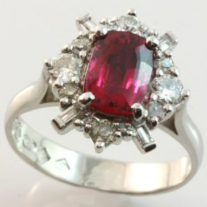 rubellite and diamond ring, hand made rubelite ring, rubelite diamond cluster ring