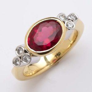 Rubelite and diamond ring, rubelite ring, Abrecht Bird, Abrecht Bird Jewellers, hand made jewellery