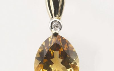 115754 : Citrine & Diamond Pendant