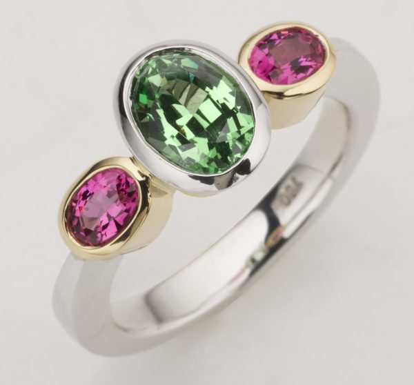 Tsavorite and pink sapphire ring, pink and green ring, coloured rings, custom made coloured rings, oval gemstone rings, green and pink rings