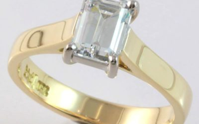 116642 : Two Tone Emerald-cut Solitaire Diamond Engagement Ring