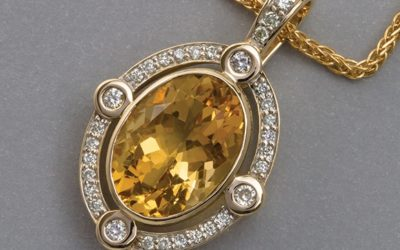 117385 : Citrine & Diamond Enhancer Pendant