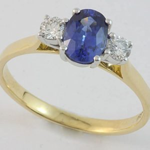 Sapphire and diamond ring, Ceylon sapphire, three stone ring, coloured stone engagement ring, Abrecht Bird, Abrecht Bird Jewellers, quality jewellery, hand made jewellery, custom made designs, oval Ceylon sapphire ring