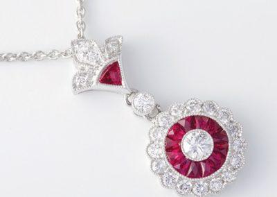 119064 - Platinum Ruby & Diamond Pendant