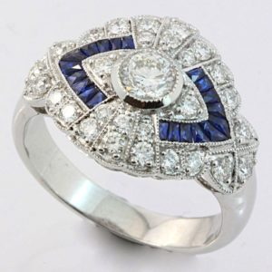 Sapphire and diamond art deco ring, Art Deco sapphire and diamond ring, Art Deco ring, sapphire and diamond ring