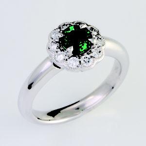 emerald halo ring, emerald and diamond ring, Abrecht Bird, Abrecht Bird Jewellers,