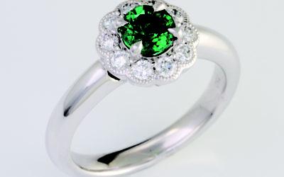 119076 : Emerald & Diamond Ring