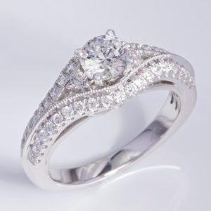 18 carat white gold multi diamond ring.