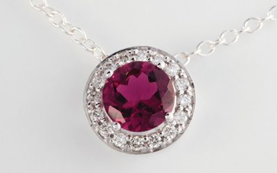 119176 : Pink Tourmaline & Diamond Slider Pendant