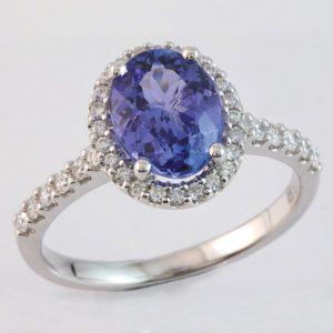 Oval tanzanite ring, tanzanite engagement ring, hand made jewellery, quality jewellery designs, Abrecht Bird, Abrecht Bird Jewellers,