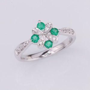 emerald and diamond ring, Abrecht Bird, Abrecht Bird Jewellers, emerald flower ring