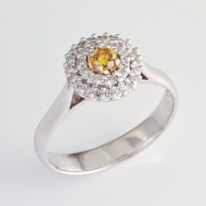 yellow diamond halo ring, hand made halo ring, diamond halo ring, Abrecht Bird, Abrecht Bird Jewellers, hand made halo ring, yellow diamond ring