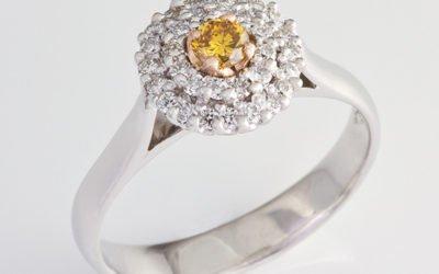119324 : Yellow & White Diamond Double Halo Ring