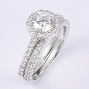 18 carat white gold diamond engagement and wedding ring set.