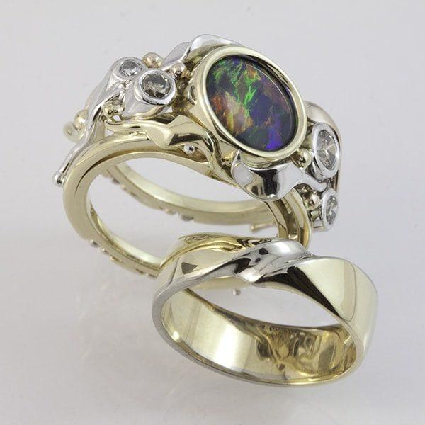 opal and diamond ring, custom made opal ring, Abrecht Bird, Abrecht Bird Jewellers, quality hand made designs, Greg John, custom made engagement rand wedding ring