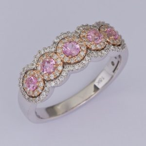pink sapphire ring, sapphire and diamond ring, white gold sapphire ring, Abrecht Bird, Abrecht Bird Jewellers,