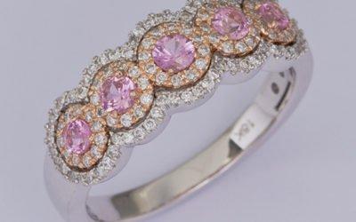 119364 : Pink Sapphire & Diamond Ring