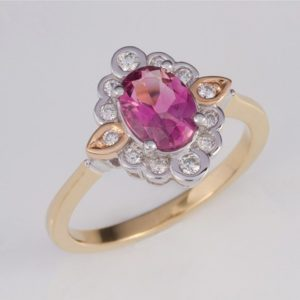 pink tourmaline and diamond ring, tourmaline ring, pink tourmaline, Abrecht Bird, Abrecht Bird Jewellers,