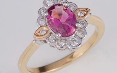119386 : Pink tourmaline & Diamond Ring
