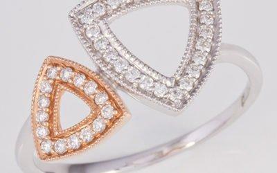 119387 : White & Rose Gold Diamond Ring