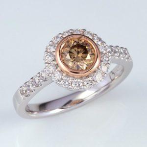 cognac diamond ring, cognac diamond halo ring, Abrecht Bird, Abrecht Bird Jewellers, hand made jewellery, brown diamond ring, Argyle diamond ring