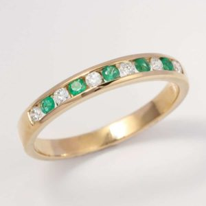 channel set emerald and diamond ring, emerald and diamond ring, emerald and diamond channel set ring, yellow gold emerald ring, Abrecht Bird, Abrecht Bird Jewellers, emerald anniversary ring