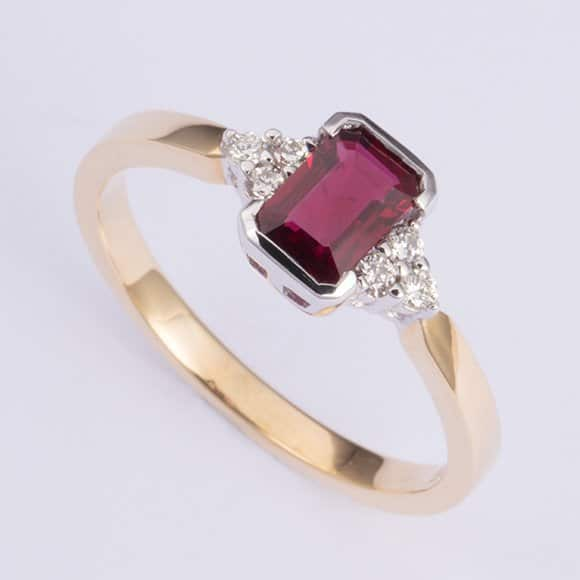 ruby and diamond ring, Abrecht Bird, Abrecht Bird Jewellers, emerald cut ruby ring, red stone ring, Abrecht Bird, Abrecht Bird Jewellers