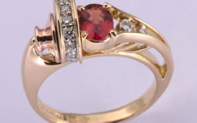 Hand made orange sapphire and diamond ring – our newest creation