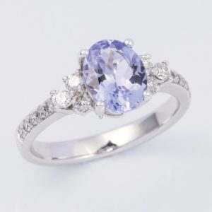 Oval tanzanite and diamond ring, white gold tanzanite ring, white gold tanzanite and diamond ring,