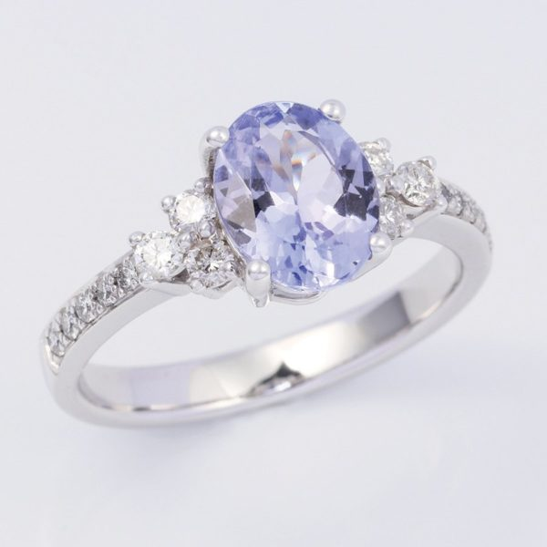 Oval tanzanite and diamond ring, white gold tanzanite ring, white gold tanzanite and diamond ring,