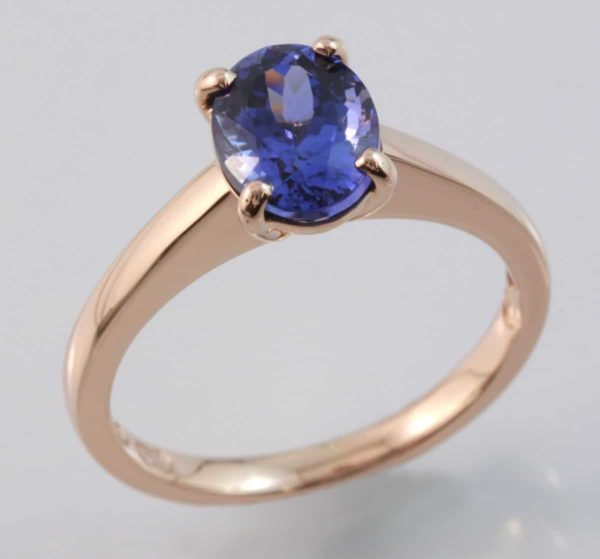 solitaire ring, Hand made tanzanite ring, oval tanzanite, rose gold and tanzanite ring, rose gold ring, Abrecht Bird, Abrecht Bird Jewellers, quality hand made jewellery, unique designs, custom made jewellery,